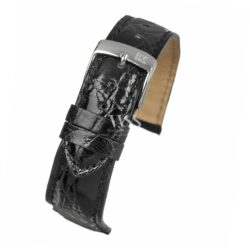 Black Italian Genuine Crocodile Watch Strap