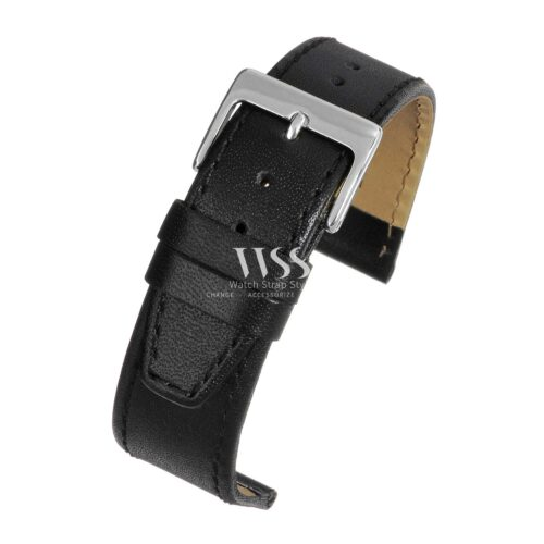 Mayfair Subtle Black Leather Watch Strap