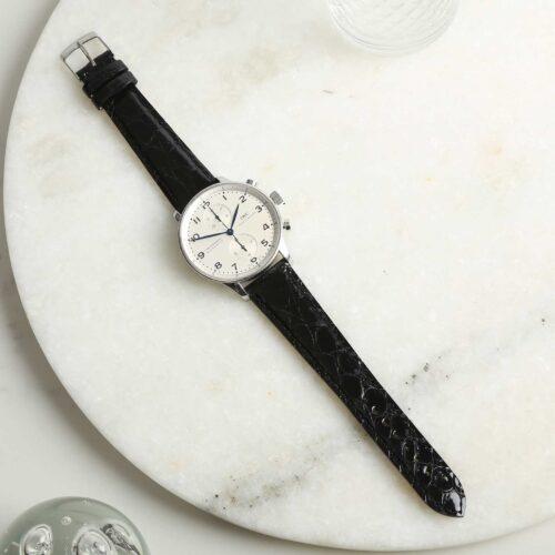 Autentico Black Italian Genuine Crocodile Watch Strap