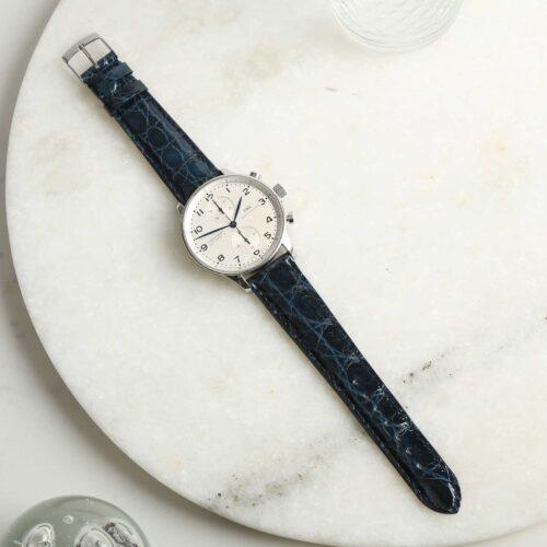Autentico Marine Blue Italian Genuine Crocodile Watch Strap