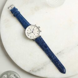 Autentico Italian Genuine Crocodile Blue Watch Strap