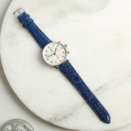 Autentico Italian Genuine Crocodile Blue Watch Strap