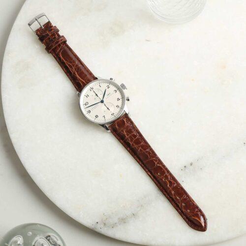 Autentico Dark Brown Italian Genuine Crocodile Watch Strap