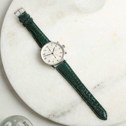 Autentico Green Italian Genuine Crocodile Watch Strap