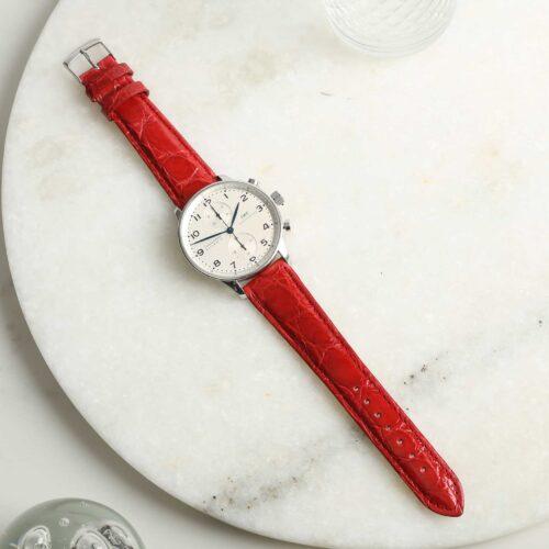 Autentico Red Italian Genuine Crocodile Watch Strap