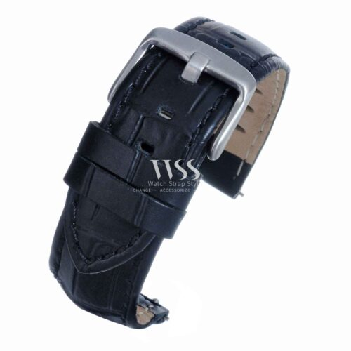 Silverstone Loop Quick Release Black Stitched Leather Watch Strap