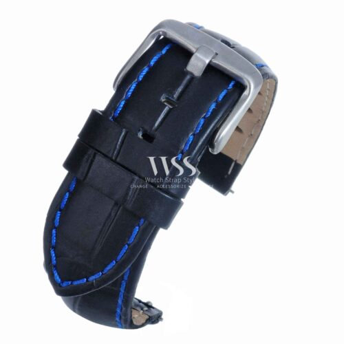 Silverstone Loop Quick Release Blue Stitched Leather Watch Strap