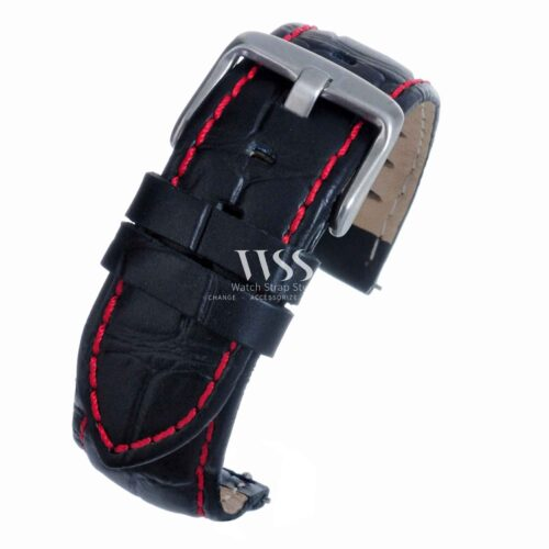 Silverstone Loop Quick Release Red Stitched Leather Watch Strap