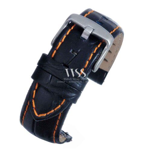 Silverstone Loop Quick Release Orange Stitched Leather Watch Strap
