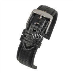 Anthracite Carbon Black Leather Black Stitch Watch Strap