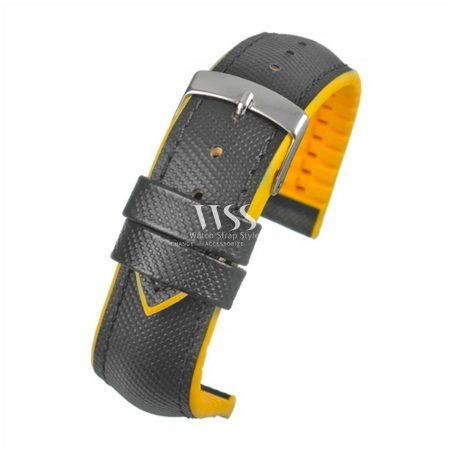 Anthracite Performance Water Resistant Black Yellow Watch Strap