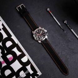 Anthracite Dash Black Silicone Orange Stitch Quick Release Watch Strap