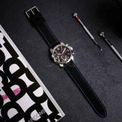 Anthracite Dash Black Silicone Blue Stitch Quick Release Watch Strap
