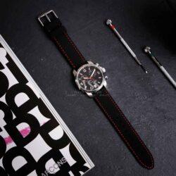 Anthracite Dash Black Silicone Red Stitch Quick Release Watch Strap
