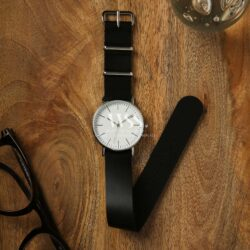 Weaverham Nato Black Leather Watch Strap
