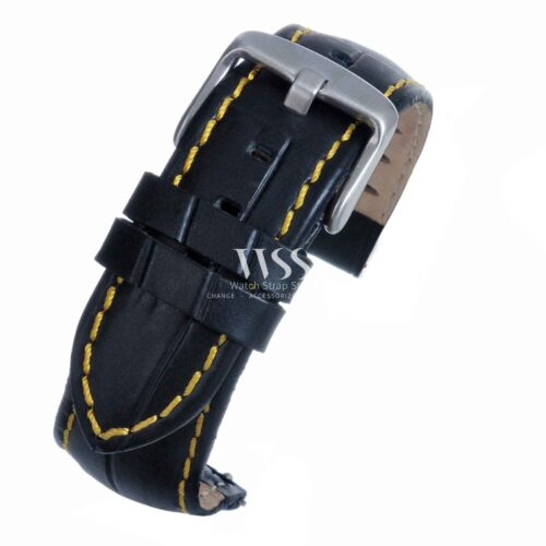 Silverstone Loop Quick Release Yellow Stitched Leather Watch Strap