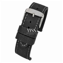 Anthracite Dash Black Silicone Grey Stitch Quick Release Watch Strap