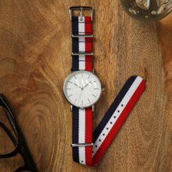 Weaverham Nato Red White Blue Nylon Watch Strap