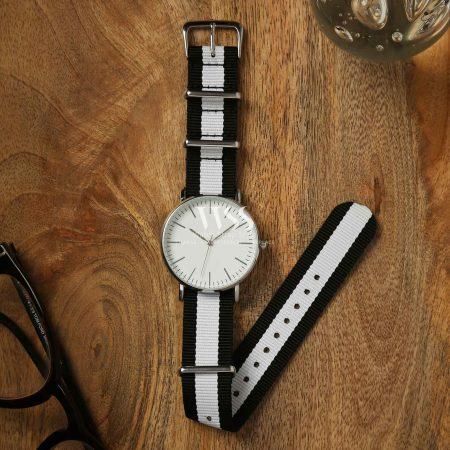 Weaverham Nato Black White Nylon Watch Strap