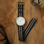 Weaverham Nato Black Grey Nylon Watch Strap