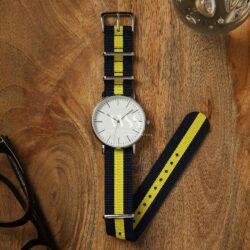Weaverham Nato Black Yellow Nylon Watch Strap