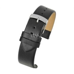Windsor Smooth Black Leather Quick Release Watch Strap