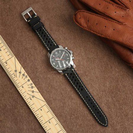 Silverstone Driver Black Leather Perforated Quick Release Watch Strap