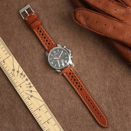 Silverstone Driver Tan Leather Perforated Quick Release Watch Strap